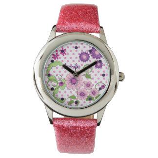 花、水玉模様及び名前をカスタムするの腕時計 腕時計