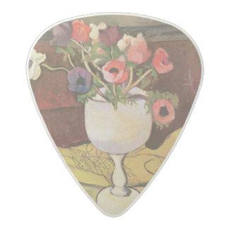 花、白いガラスのアネモネのつぼ アセタール ギターピック