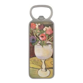 花、白いガラスのアネモネのつぼ マグネット栓抜き