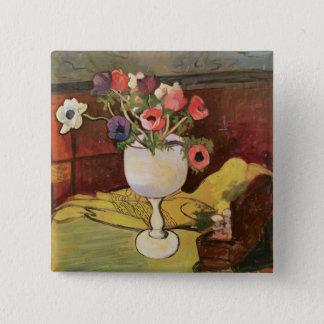 花、白いガラスのアネモネのつぼ 5.1CM 正方形バッジ