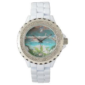 花、花柄、ビーチ、ビーチの波、ビーチは振ります、 腕時計