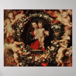 花、c.1618-20の花輪が付いているヴァージン ポスター