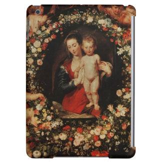 花、c.1618-20の花輪が付いているヴァージン iPad airケース