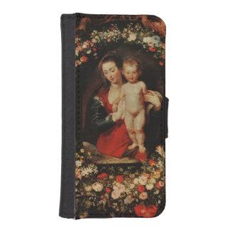 花、c.1618-20の花輪が付いているヴァージン iPhoneSE/5/5sウォレットケース