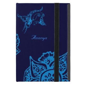 花(Henna)を持つ蝶(青) iPad Mini ケース