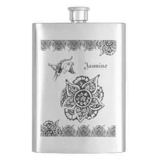 花(Henna)を持つ蝶(黒) フラスク