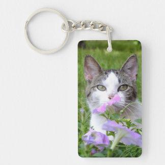 花KeyChainのかわいい虎猫及び白い子ネコ キーホルダー