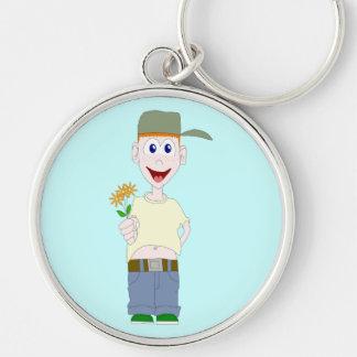 花Keychainを持つ男の子 キーホルダー