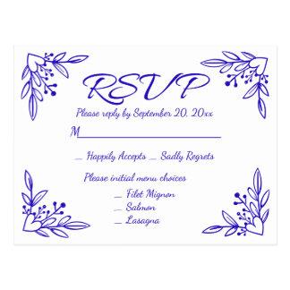 花RSVPの濃紺のコバルトの結婚式の花 ポストカード