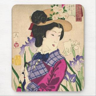 芸者およびアイリス日本人のWoodblockの芸術Ukiyo-e マウスパッド