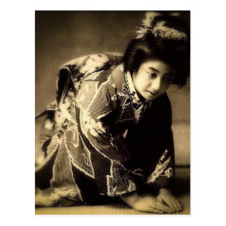 芸者のセピア色を曲げるヴィンテージはお辞儀の日本語にある調子を与えました ポストカード