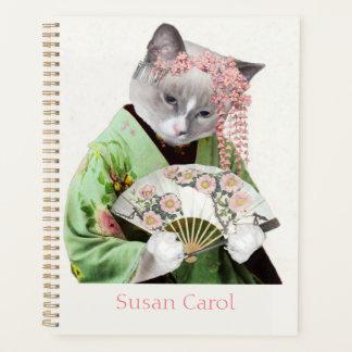 芸者の子ネコの螺線形の週間か月例プランナー プランナー手帳