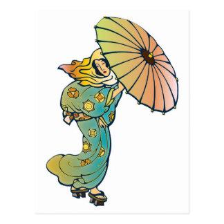 芸者の未婚の傘のアジア人 ポストカード