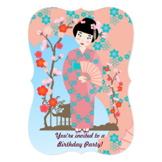 芸者女の子および花の誕生日のパーティの招待状 カード