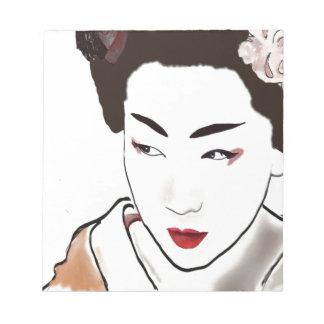 芸者女の子の水彩画 ノートパッド
