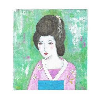 芸者女の子の混合メディアの抽象的な絵画 ノートパッド