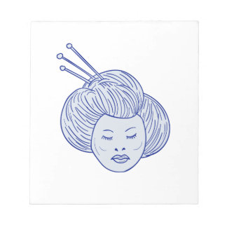 芸者女の子の頭部のスケッチ ノートパッド