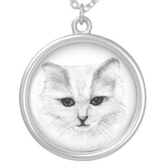 芸術のイメージ吊り下げ式猫の鉛筆のスケッチの子ネコ シルバープレートネックレス
