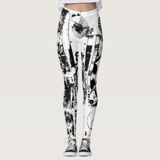 芸術のコラージュの黒及び白 + あなたのアイディア レギンス