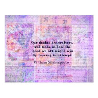 芸術のシェークスピアの引用文の勇気の恐れ ポストカード