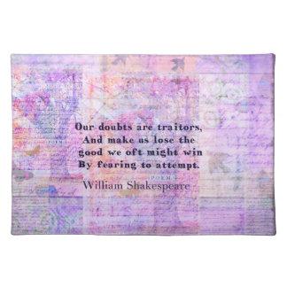 芸術のシェークスピアの引用文の勇気の恐れ ランチョンマット