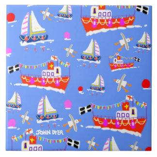 芸術のセラミックタイル: ジョンのダイアーによるコーニッシュのボート タイル