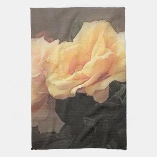 芸術のパステルカラーの花のヴィンテージの背景 キッチンタオル