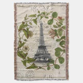 芸術のパリパリのフランスのな植物のエッフェル塔 スローブランケット