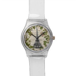 芸術のパリパリのフランスのな植物のエッフェル塔 腕時計