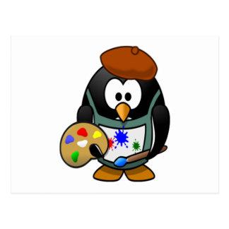 芸術のパレットを握っているペンギン ポストカード