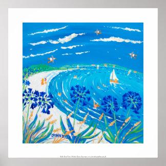 芸術のプリント: アガパンサス属、Pentle湾のビーチ、Tresco ポスター
