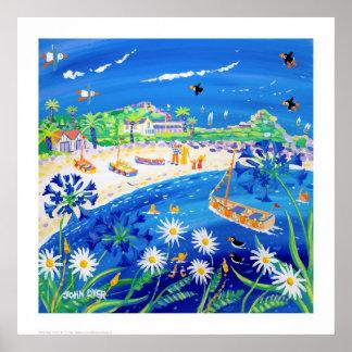 芸術のプリント: ツノメドリの日、Tresco。 ジョンのダイアーによって ポスター