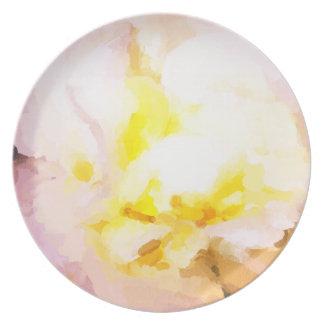 芸術のプレート、白いバラ、ファインアート プレート