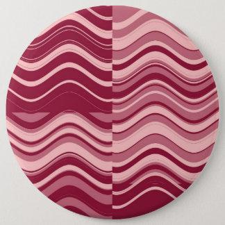 芸術のレトロの深紅およびピンクの波の抽象芸術 15.2CM 丸型バッジ