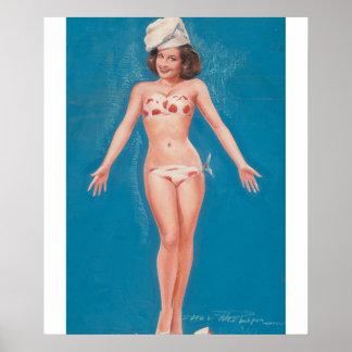 芸術の上のブルネットPin ポスター