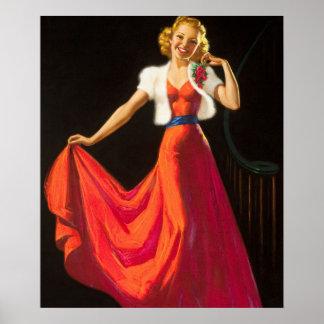 芸術の上の赤い服Pin ポスター