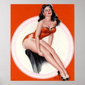 芸術の上の赤い水着Pinのブルネット ポスター