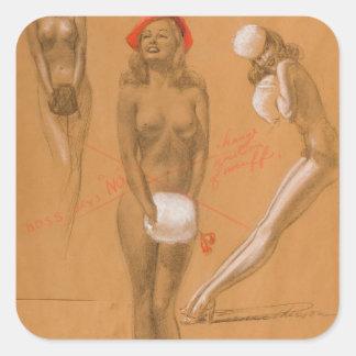 芸術の上の3裸体Pin スクエアシール