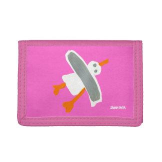 芸術の家: ジョンのダイアーのコーニッシュのカモメの財布のピンク ナイロン三つ折りウォレット