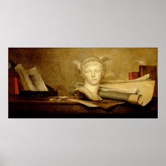 芸術の属性の静物画、1765-66年 ポスター