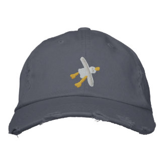 芸術の帽子: だらしないカモメのデザイン 刺繍入りキャップ