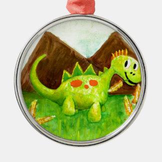 芸術の幸せな恐竜のディーノのarnieをからかいます メタルオーナメント