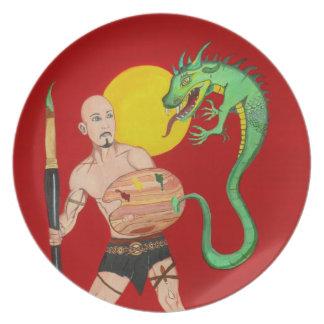 芸術の戦士の水彩画の絵画のプレート プレート