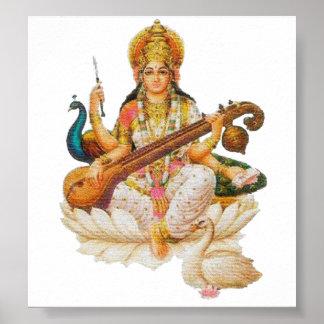芸術の教育のための女神のSaraswatiのヒンズー教の女神 ポスター