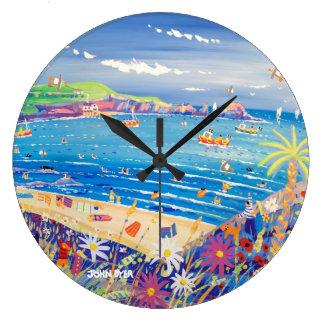 芸術の時計: 母Iveyの湾コーンウォール ラージ壁時計