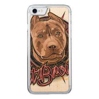 芸術の根本的なピット・ブルの茶色および赤の後をつけて下さい CARVED iPhone 8/7 ケース
