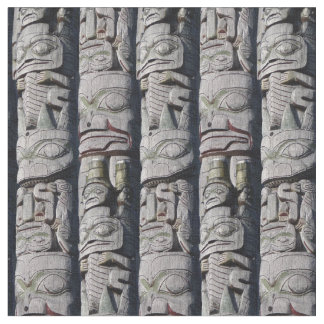 芸術の生地のワシのトーテムポールの天然種族の生地 ファブリック