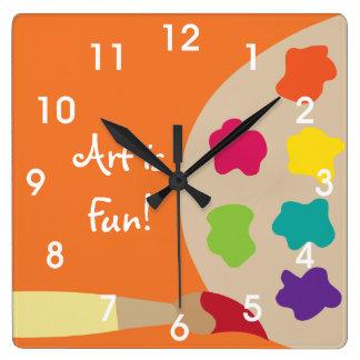 芸術の絵画のパレットの柱時計-オレンジ スクエア壁時計