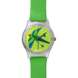 芸術の腕時計: ジョンのダイアーの緑のオーストラリア人のオウム 腕時計