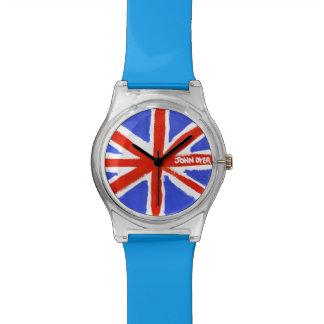 芸術の腕時計: 英国国旗の色彩の鮮やかな旗 腕時計